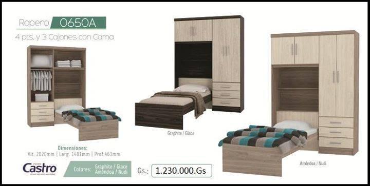 Ropero con cama paraguay ventas for Cama ropero
