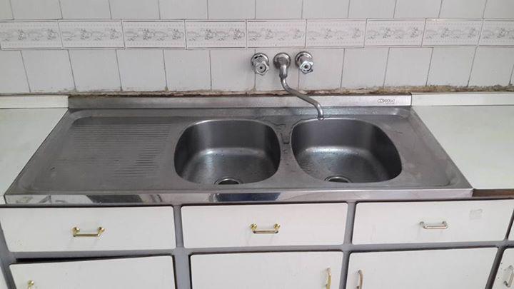 Mueble de cocina con pileta de acero inoxidable dos bachas - Axa Xab ...