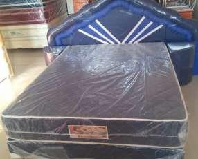 Sommier 1,40 x 1,90 m base colchón cabecera y mesitas
