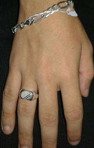 Pulsera de plata Italiana 22 cm con anillo detalle oro 8 cm diámetro italiano