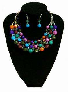 Collar y Aros Multicolor