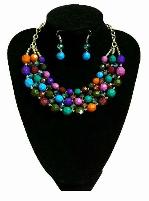 Collar y Aros Multicolor
