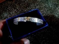 Pulsera esclava de plata con detalle en oro