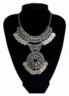 Collar Bohemio Moneda doble de plata