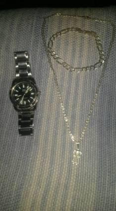 Pulsera y cadena de plata italiana y reloj QyQ
