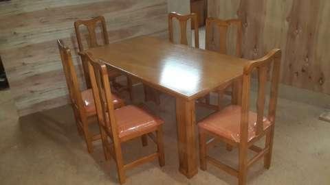 Juego de comedor de 6 sillas tapizadas - 0