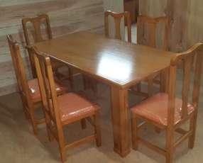 Juego de comedor de 6 sillas tapizadas