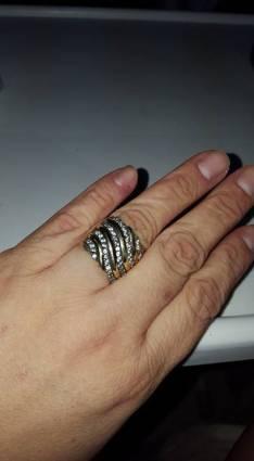 Anillo de plata con aplique de oro