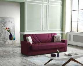 Sofá cama de tela de lino