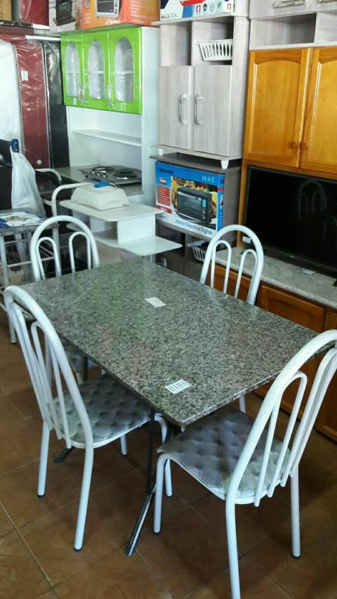 Juego de comedor granito con 4 sillas de metal tapizado