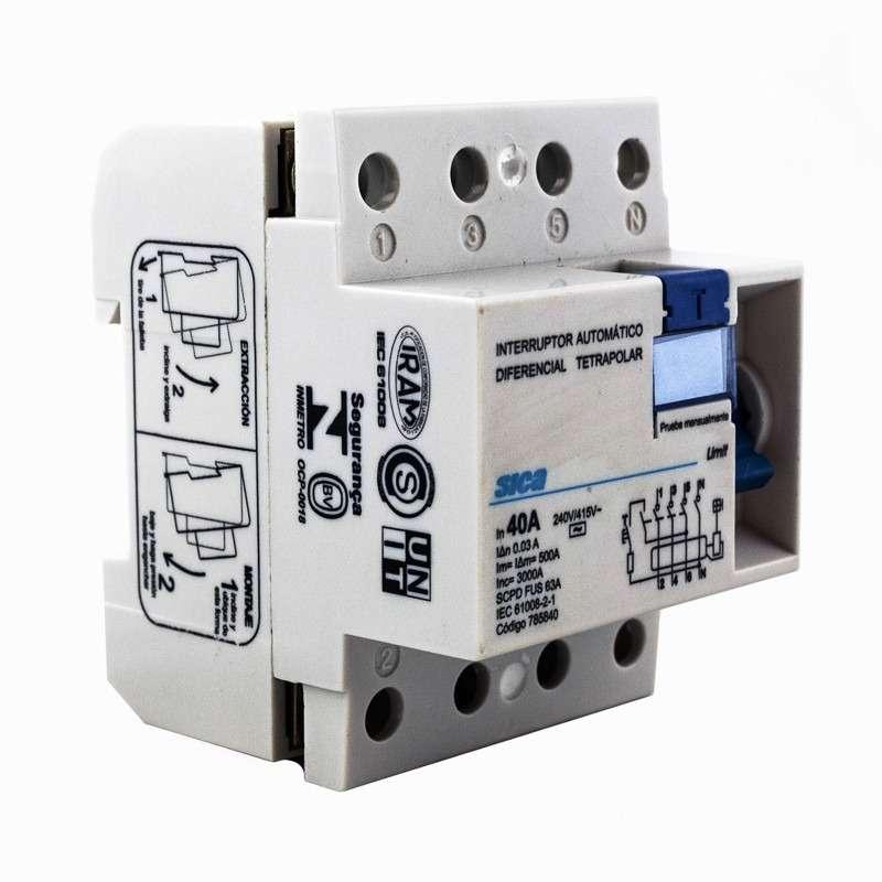 Disyuntor interruptor diferencial ID 4 polos 40 amp