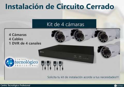 Kit Siera de 4 cámaras de seguridad HD 720P con infrarrojo