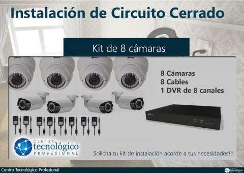 Kit de 8 cámaras de seguridad HD 720P con infrarrojo