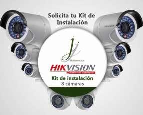 Kit De 8 Camaras Hikvision con Instalacion