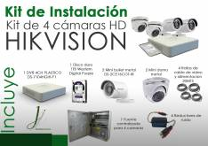 Kit CCTV de 4 Camaras Hikvision con Instalacion