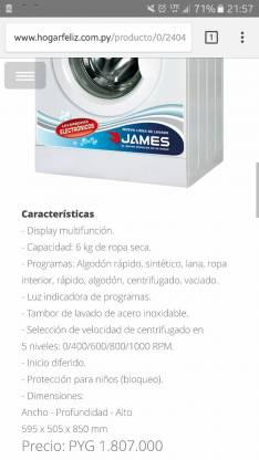 Lavarropas James semi automática
