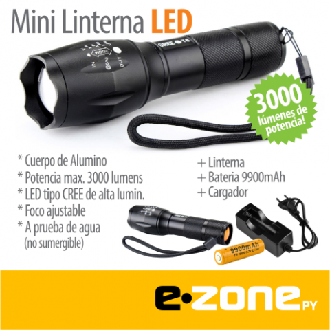 Linterna tactica LED de 3000 Lumenes + Bateria recargable 9900mAh!