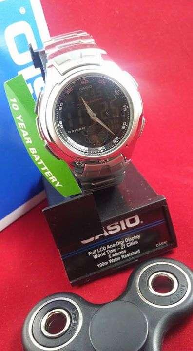 423503717a73 Reloj Casio Analógico digital fondo negro de acero inoxidable ...
