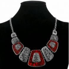 Collar Boho chic con detalles en Rojo