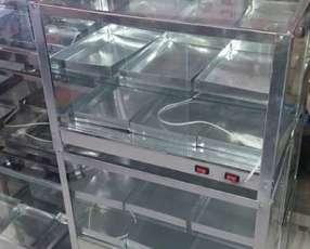 Exhibidora de Empanadas minutas con calentador y foco
