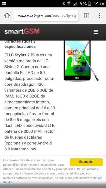 LG Stylus 2 Plus fisurado