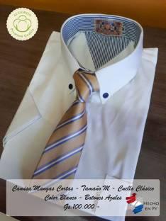 Camisa Algodón 100%, cuello clásico Mangas Cortas Varios tamaños