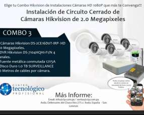 Instalación de Circuito Cerrado de Cámaras Hikvision de 2.0 Megapixeles Combo 3