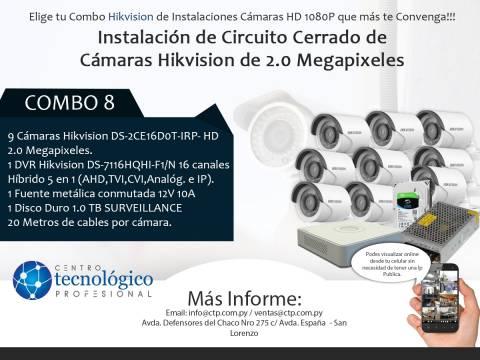 Combo 8 - Instalación de Circuito Cerrado de Cámaras Hikvision de 2.0 Megapixeles