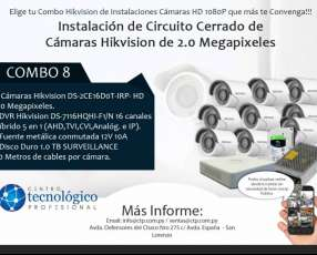 Instalación de Circuito Cerrado de Cámaras Hikvision de 2.0 Megapixeles Combo 8