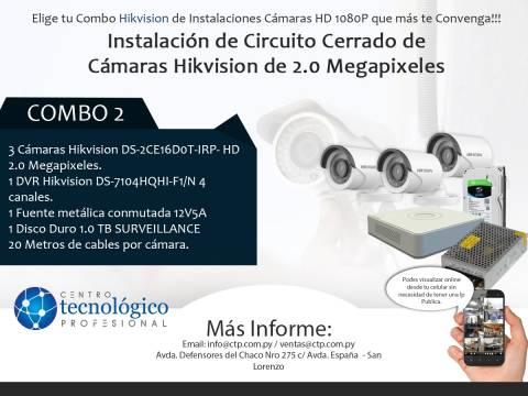 Combo 2 - Instalación de Circuito Cerrado de Cámaras Hikvision de 2.0 Megapixeles