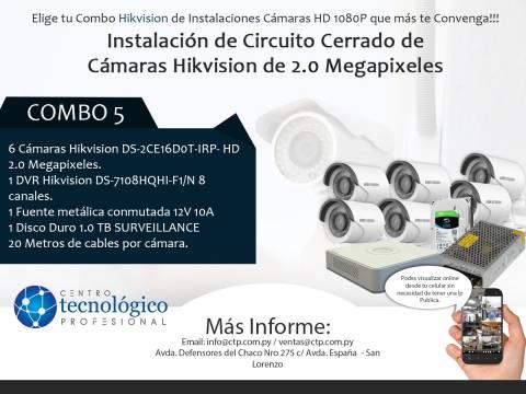 Combo 5 - Instalación de Circuito Cerrado de Cámaras Hikvision de 2.0 Megapixeles