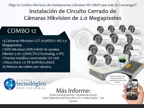 Combo 12 - Instalación de Circuito Cerrado de Cámaras Hikvision de 2.0 Megapixeles