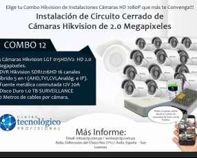 Instalación de Circuito Cerrado de Cámaras Hikvision de 2.0 Megapixeles Combo 12