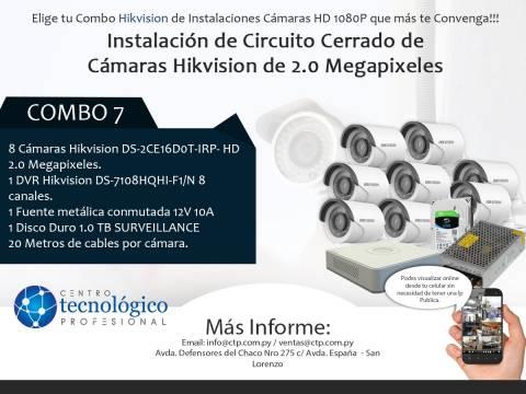 Combo 7 - Instalación de Circuito Cerrado de Cámaras Hikvision de 2.0 Megapixeles
