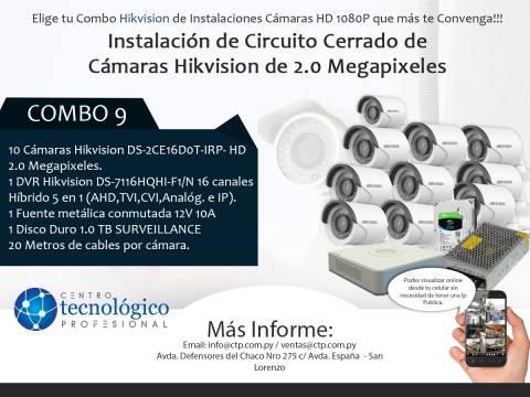 Combo 9 - Instalación de Circuito Cerrado de Cámaras Hikvision de 2.0 Megapixeles