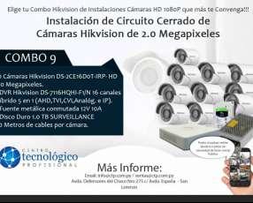 Instalación de Circuito Cerrado de Cámaras Hikvision de 2.0 Megapixeles Combo 9