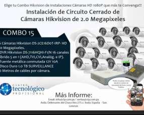 Instalación de Circuito Cerrado de Cámaras Hikvision de 2.0 Megapixeles Combo 15