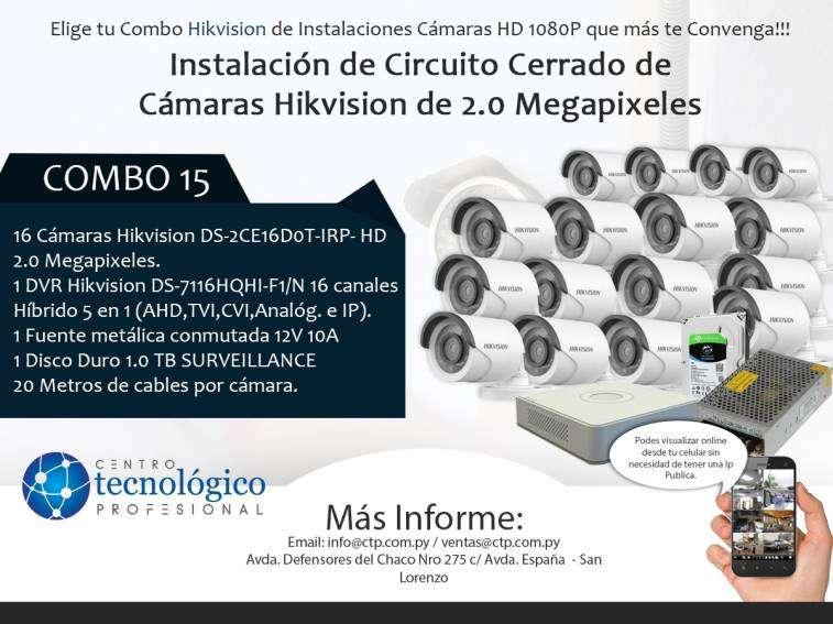 Instalación de Circuito Cerrado de Cámaras Hikvision de 2.0 Megapixeles Combo 15 - 0