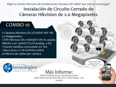 Combo 10 - Instalación de Circuito Cerrado de Cámaras Hikvision de 2.0 Megapixeles