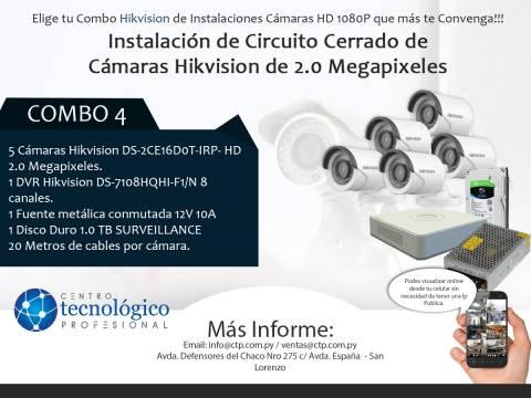 Combo 4 - Instalación de Circuito Cerrado de Cámaras Hikvision de 2.0 Megapixeles