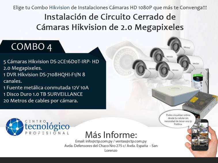 Instalación de Circuito Cerrado de Cámaras Hikvision de 2.0 Megapixeles Combo 4