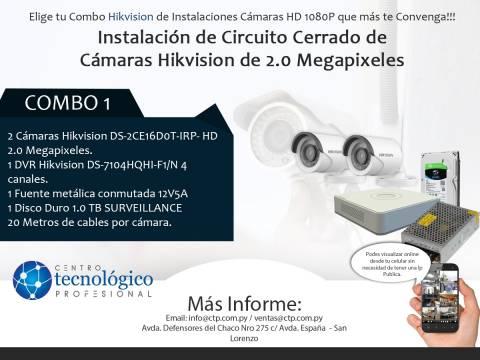 Combo 1 - Instalación de circuito cerrado de cámaras Hikvision de 2.0 megapíxeles