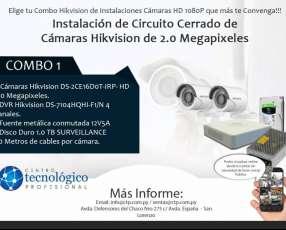 Instalación de circuito cerrado de cámaras Hikvision de 2.0 megapíxeles Combo 1