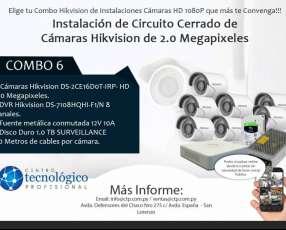 Instalación de Circuito Cerrado de Cámaras Hikvision de 2.0 Megapixeles Combo 6