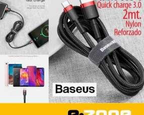 Cable USB C Quick charge 3.0 Baseus original 2 mts reforzado