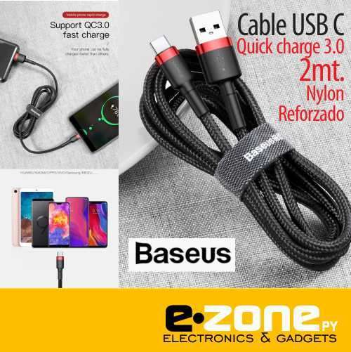 Cable USB C Quick charge 3.0 Baseus original 2 mts reforzado - 0