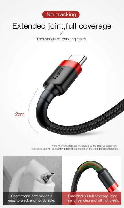 Cable USB C Quick charge 3.0 Baseus original 2 mts reforzado - 2