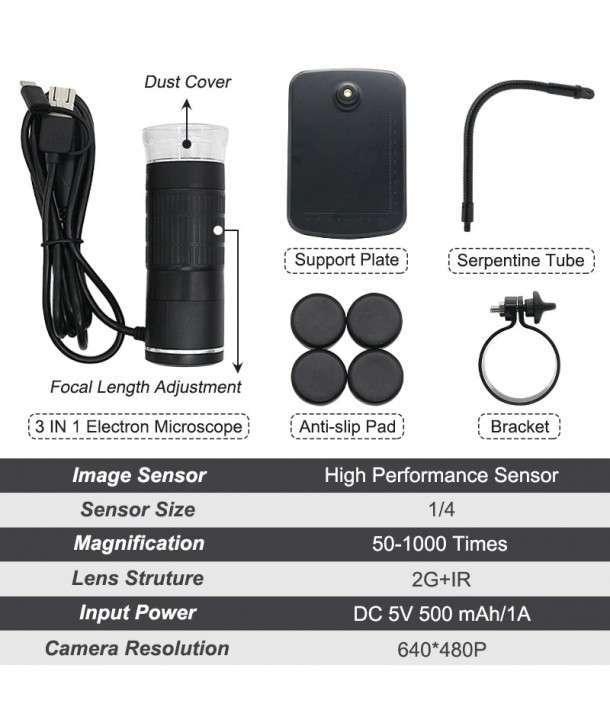 Microscopio digital usb 1000X 3 en 1 - 2