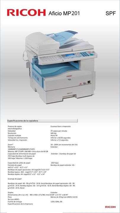 Fotocopiadora Ricoh Aficio MP 201 - 0