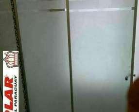 Mampara para baño de vidrio blindex arenado rayas de 8mm